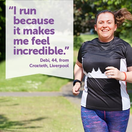 Debi runs because it makes her feel incredibleDebi runs because it makes her feel incredible